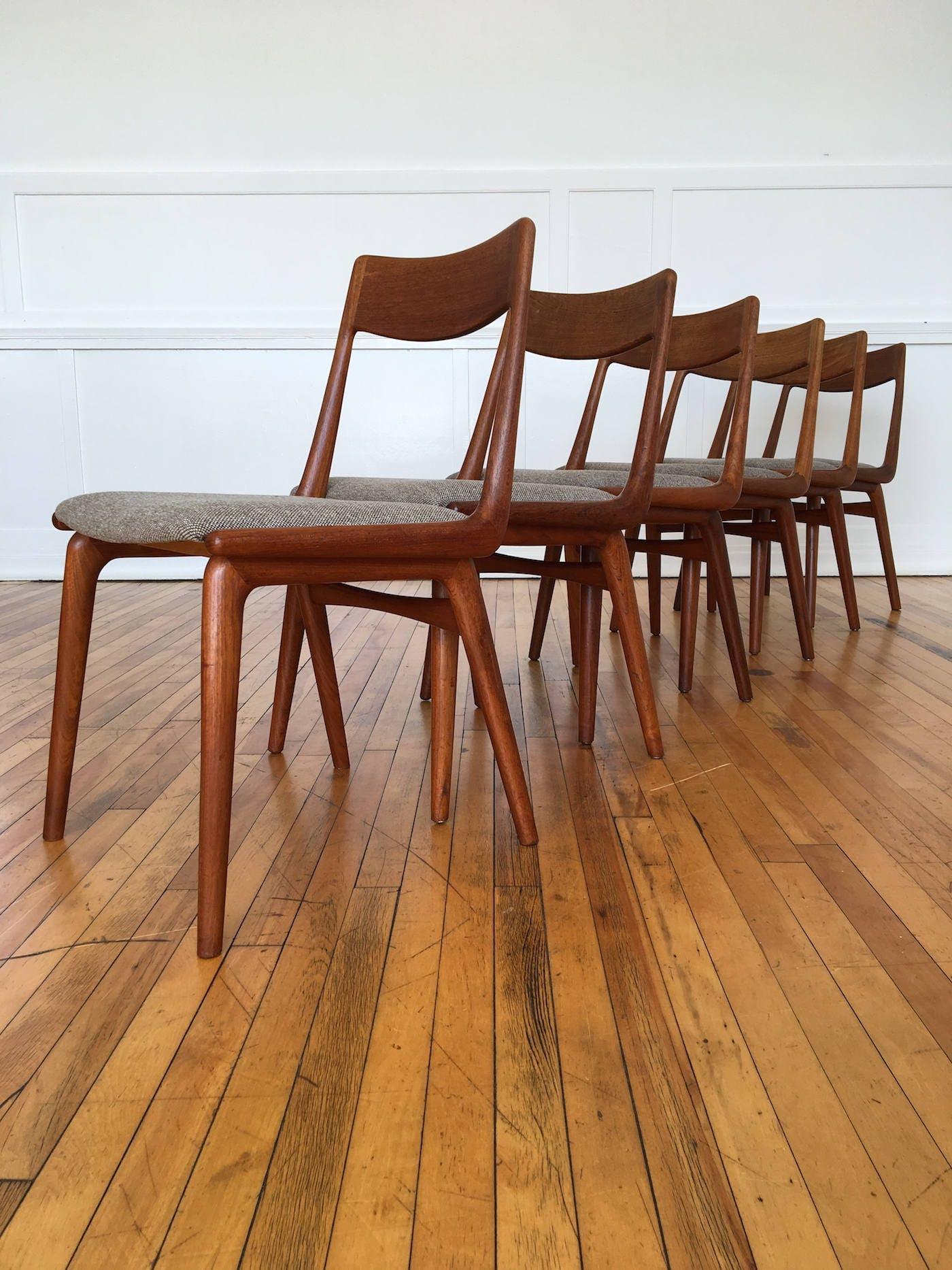 Set of 6 Vintage Midcentury Danish Teak Boomerang Dining Chairs Erik Christensen