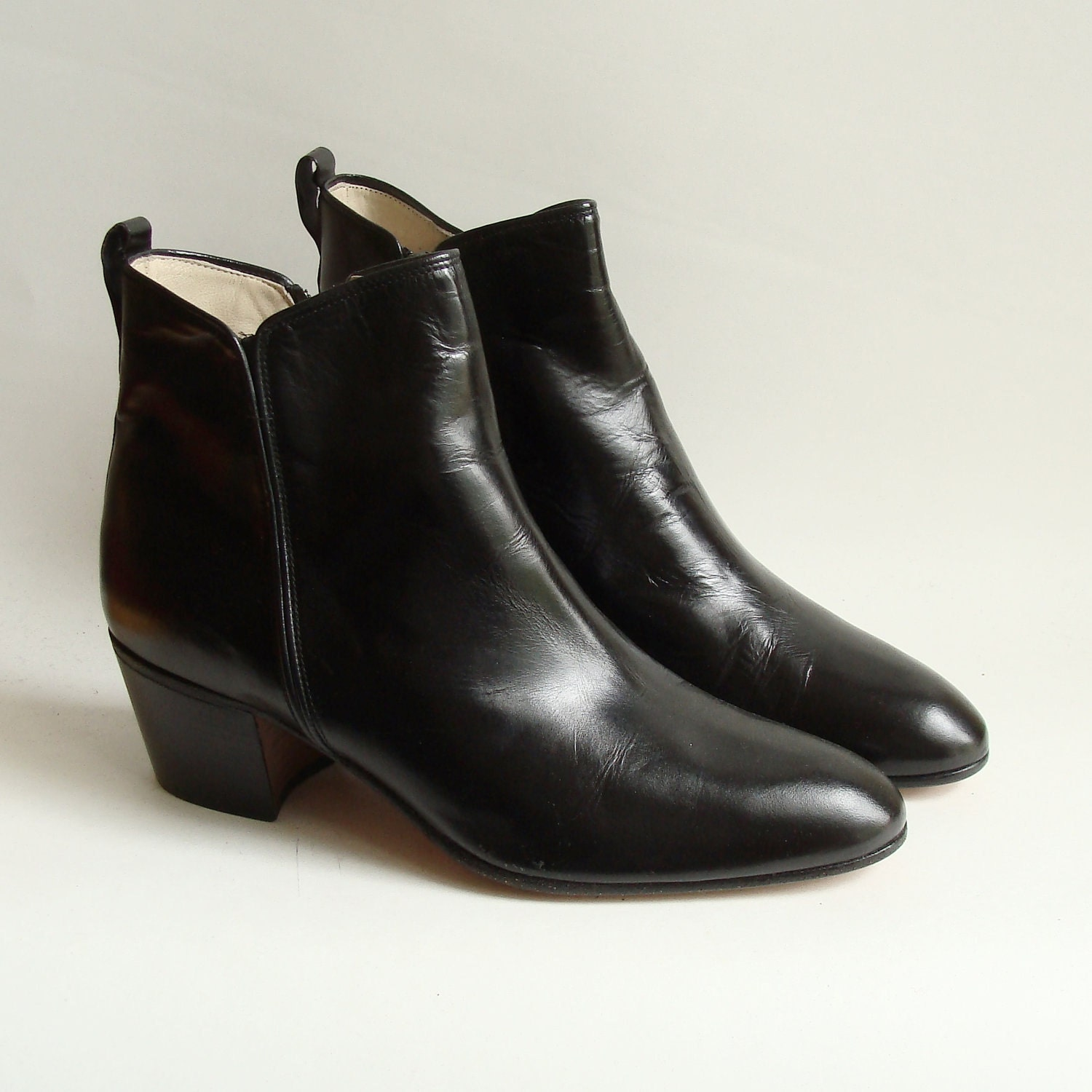 black leather italian boots black ankle by