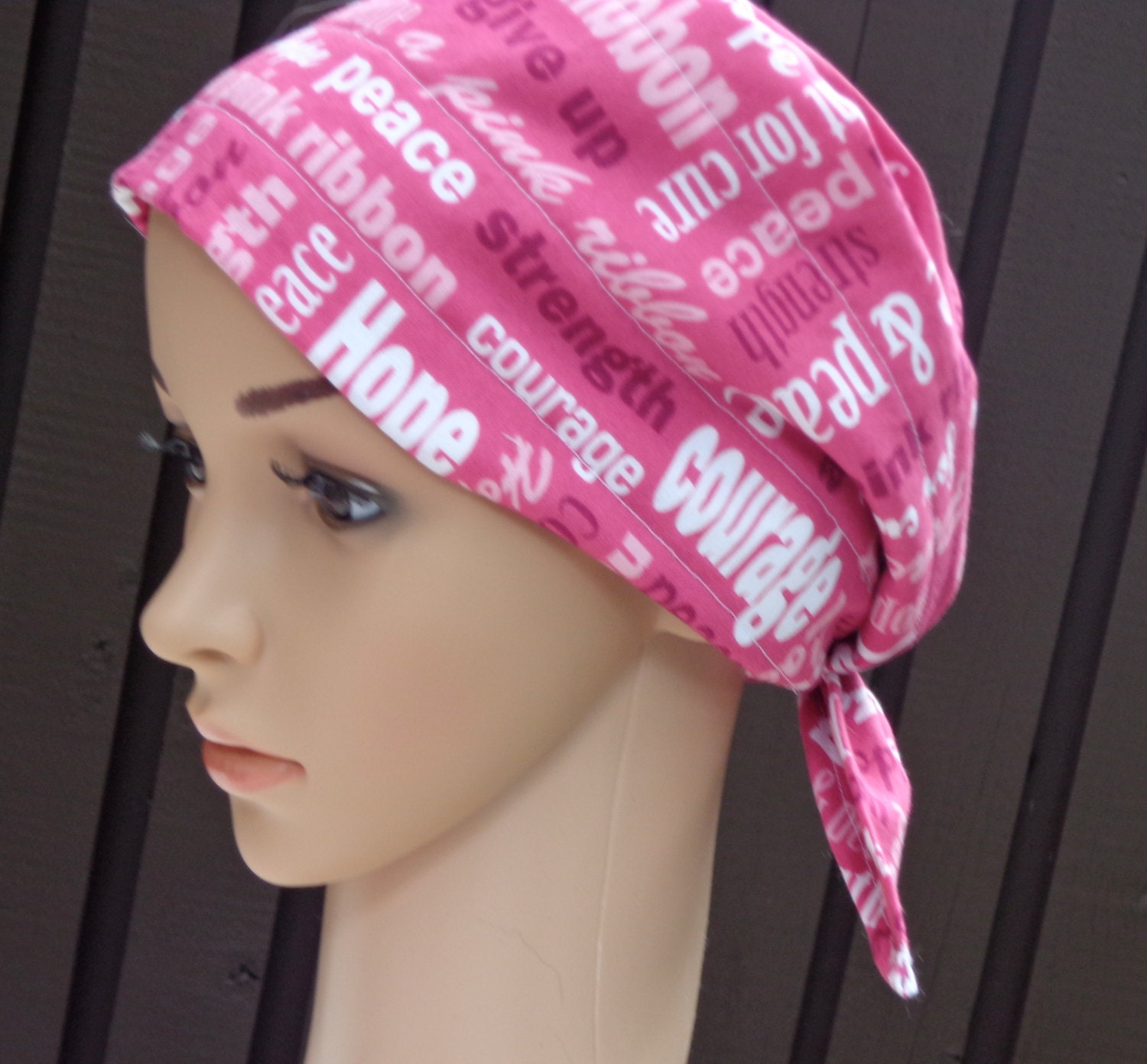 pink breast cancer uplifting words scarf hat by