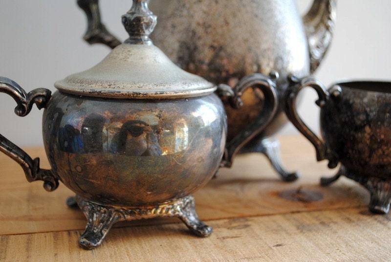 Vintage Silver Coffee or Tea set - Carafe, Sugar and Creamer 3 Piece Set - labiblioteca