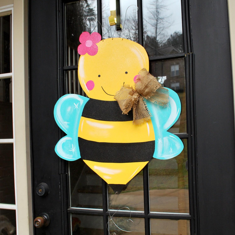 Spring door hanger summer door decor bumble bee by for Decoration hangers