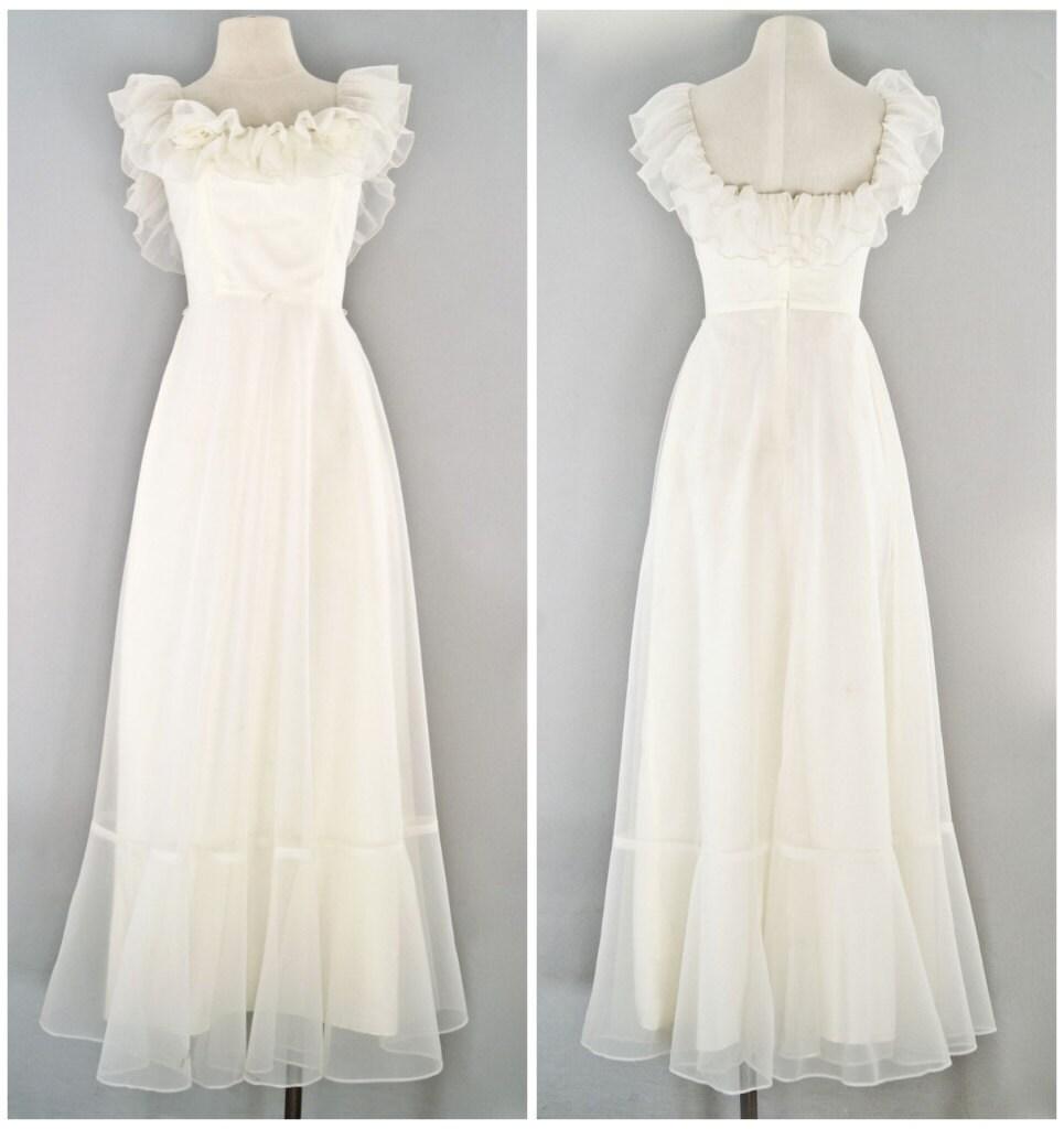 Vintage wedding dress 70s prairie bridal by vacationvintage