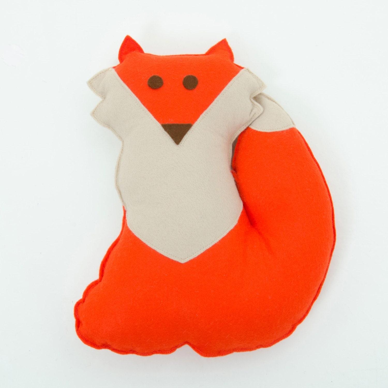 Woodland nursery fox cushion, woodland decor, fox decor, kids cushion, handmade felt cushion, throw cushion - ButtonOwlBoutique