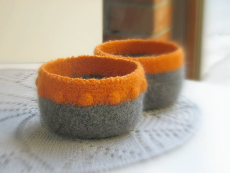 Bowls orange grey - Organic eco-friendly   - Dark orange and grey with a texture - fall inspired