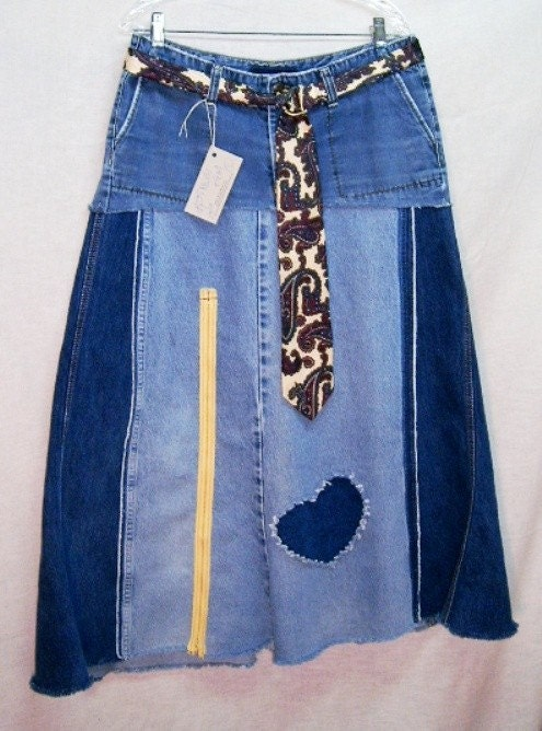 denim jean skirt diy hippie chic by creationsbykimmills