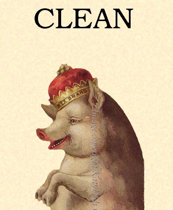Clean Dirty Dishwasher Magnet - Pig with a Crown - Rex Pig King of all Swine - KatyDidsCards