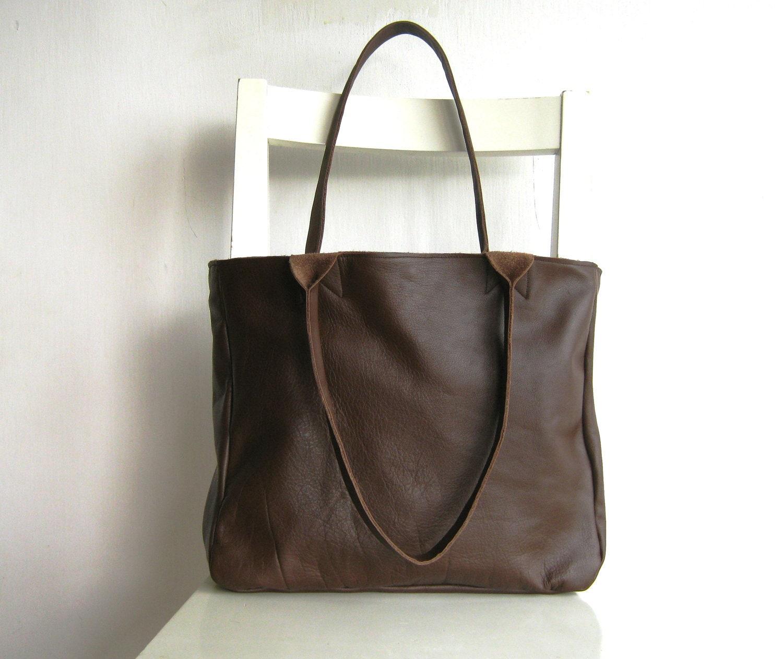 brown genuine leather tote shoulder bag by rutinet on etsy