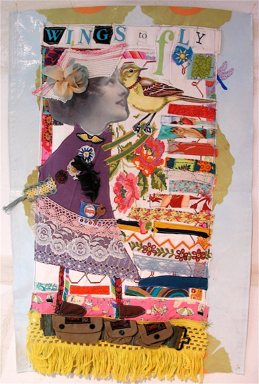 Wings To Fly Fabric Collage Art Quilt Large Assemblage By