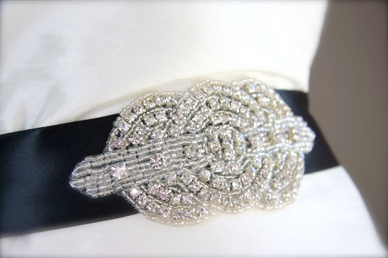 Art deco wedding sash rhinestone bridal dress sash black choose color