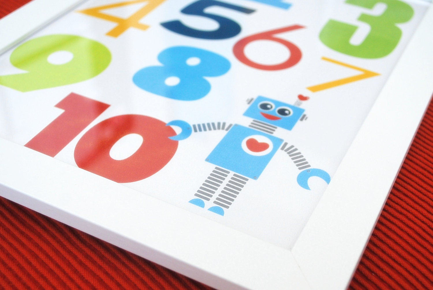 MOVING SALE Numbers Robot Boy Wall Print, 8 x 10, Robot illustration and Typography Wall Print Poster Boy Room
