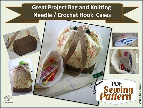 Knitting Project Bag Sewing Pattern : Great Project Bag Needle Case Needle Sleeve by 4girlsdesigns