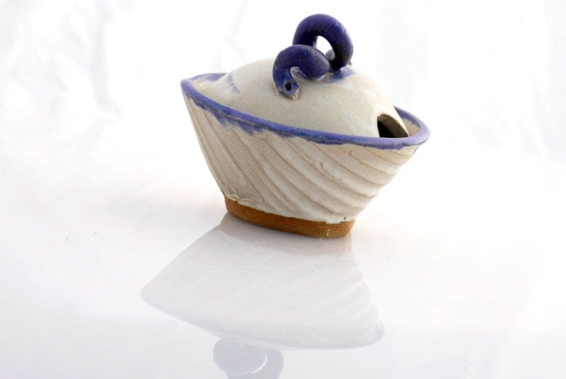 ceramic sugar bowl in satin white and blue - claylicious