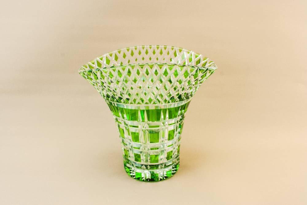 Attractive Art Deco Medium Diamond Glass VASE Unique Vintage Green Flaring Retro Gift 1930s English LS