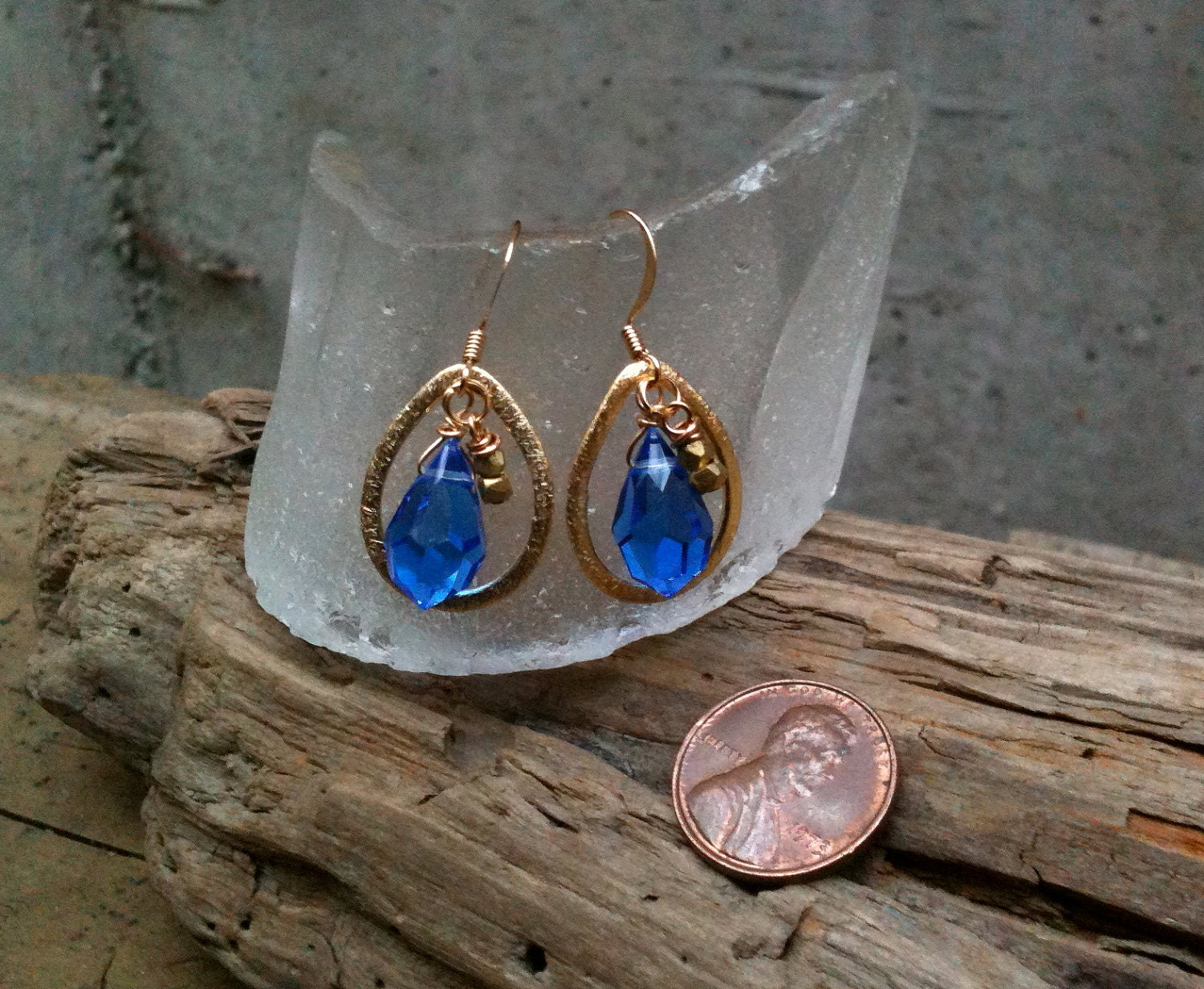 Maribeth Teardrop Earrings / Crystals & Gold