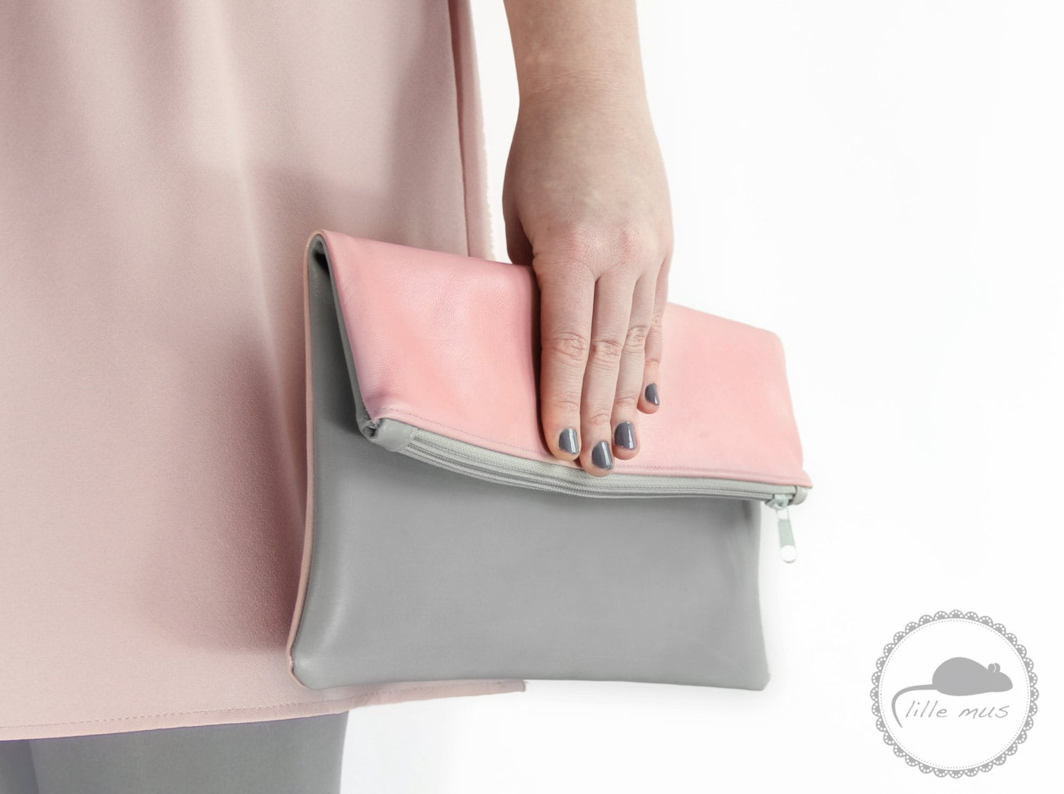 foldover clutch Finja, pink grey leather modern simple leatherclutch evening bag clutch rose - LilleMusShop