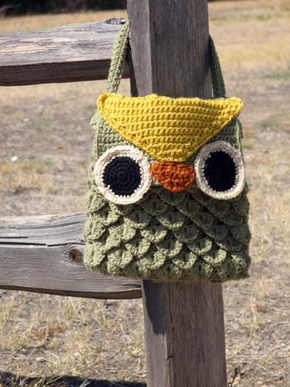 Crochet Pattern For Owl Bag : PDF Pattern Crochet Woodland Owl Bag by Kookaloo on Etsy