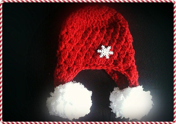 Red snowflake crochet hat,free shipping,great gift idea - Countrycutecrochet