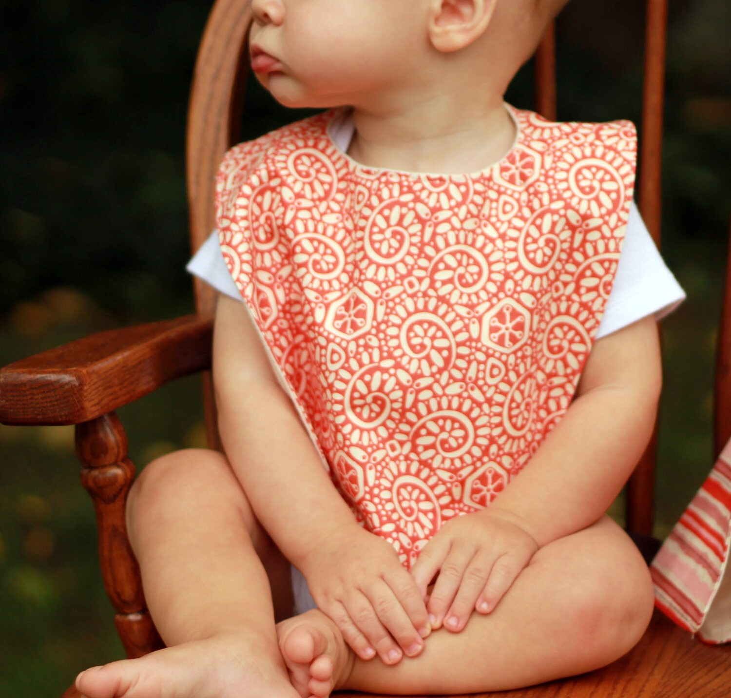 baby bib and burp cloth set.   peach and pink.  baby girl
