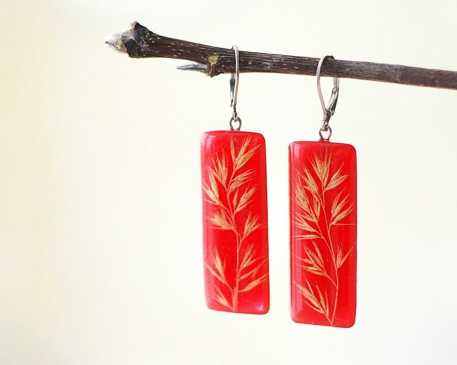 Real field grass earrings - red resin handmade jewelry - Phalaroides arundinacea - UralNature