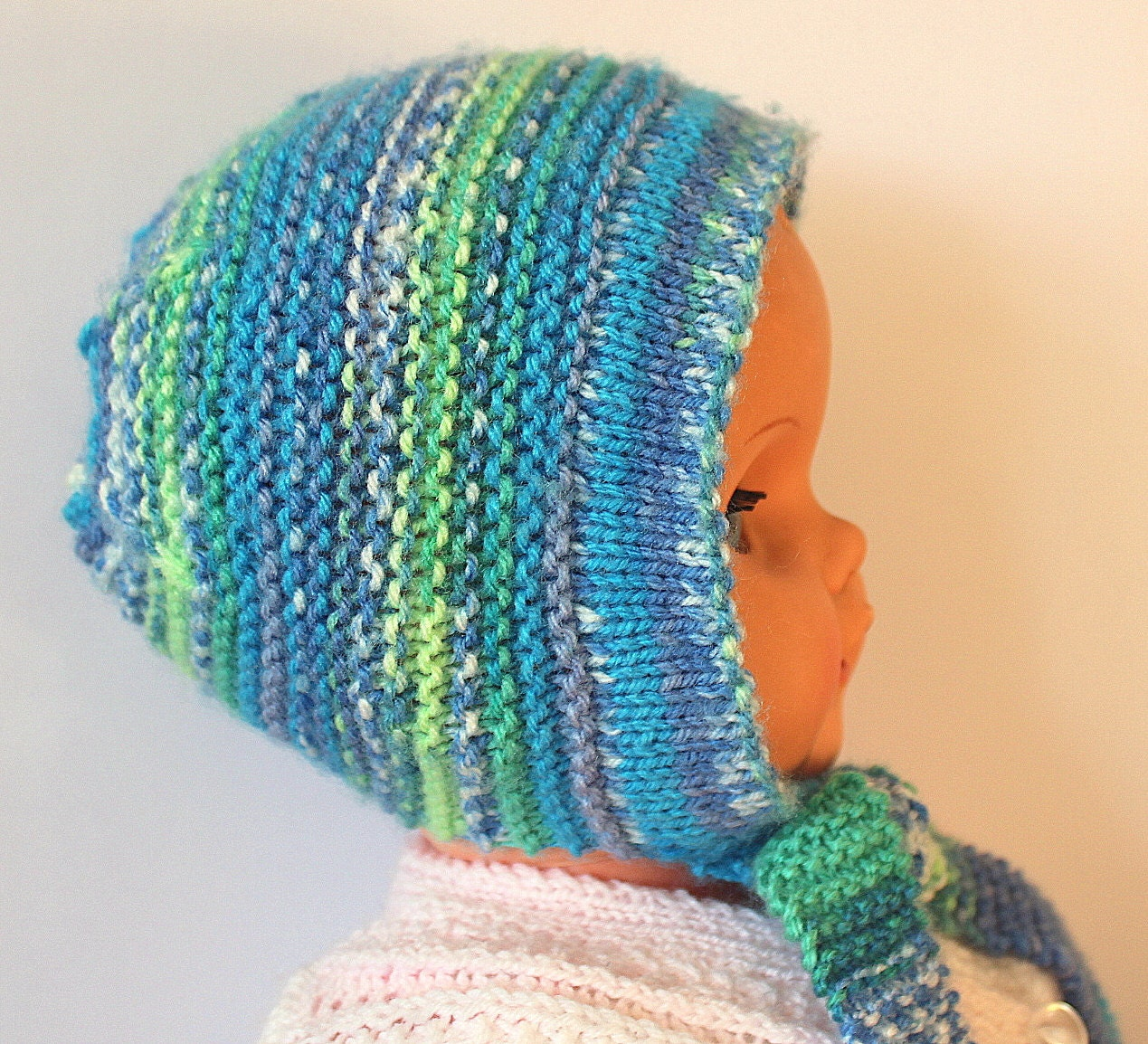 Blue Baby Bonnet Fairisle Baby Hat Colorful Baby Hat Unisex Baby Hat Infant Hat Cute Baby Hat Hand Knit Hat Acrylic Baby Hat Baby Shower