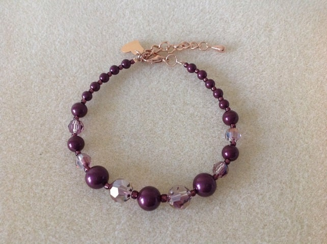 Reduced price Blackberry maroon pearl and crystal rose gold heart charm bracelet