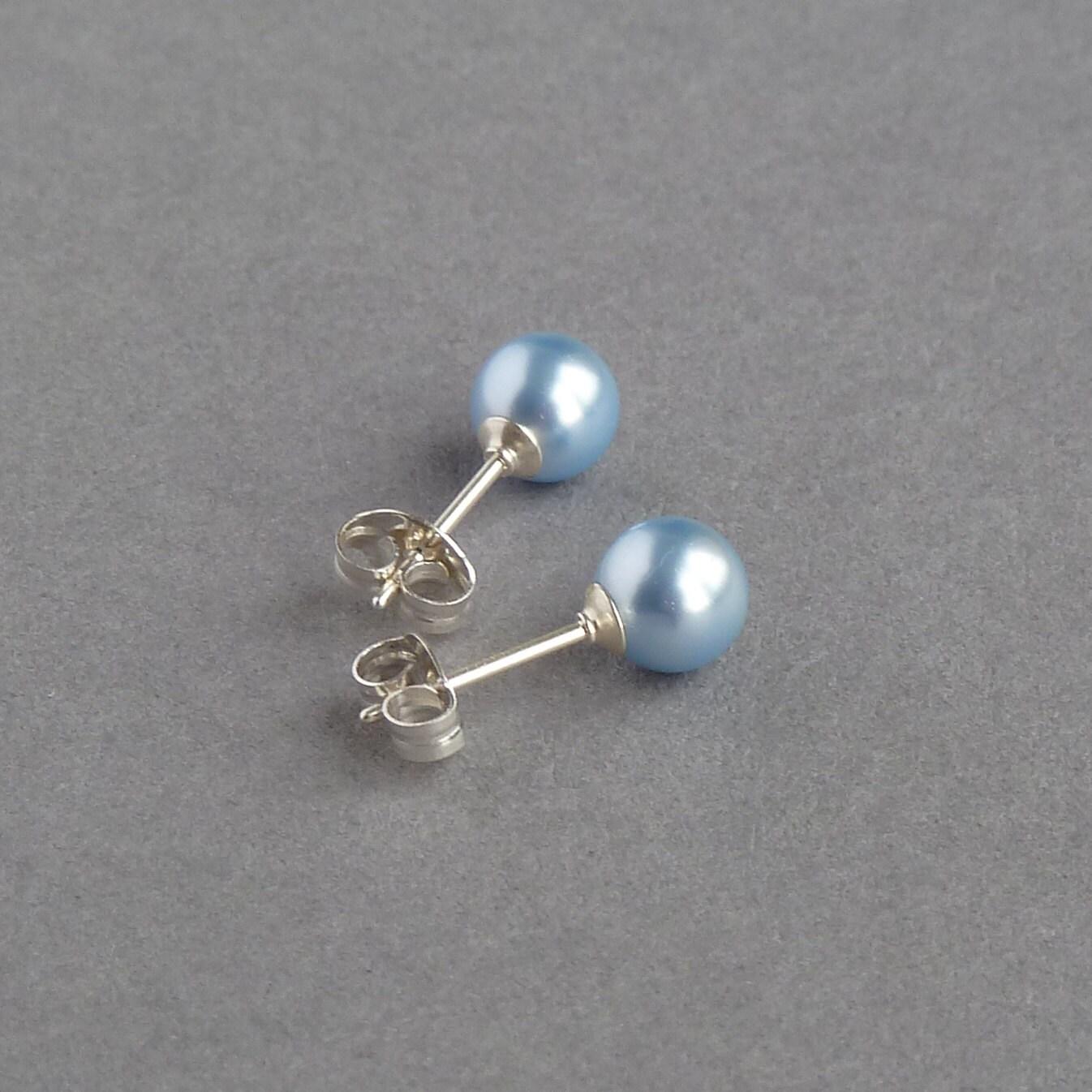 Powder Blue Stud Earrings  Light Blue Swarovski Pearl Earrings  Pale Blue Post Earrings  Bridesmaid Jewellery  Soft Blue Wedding Gifts