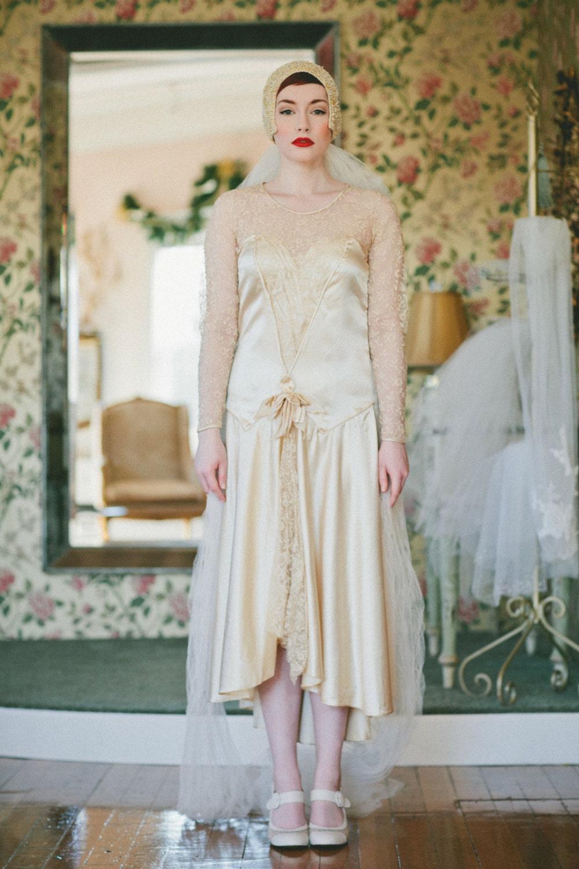1920s wedding dress vintage 20s lace flapper by for Vintage 1920 wedding dresses