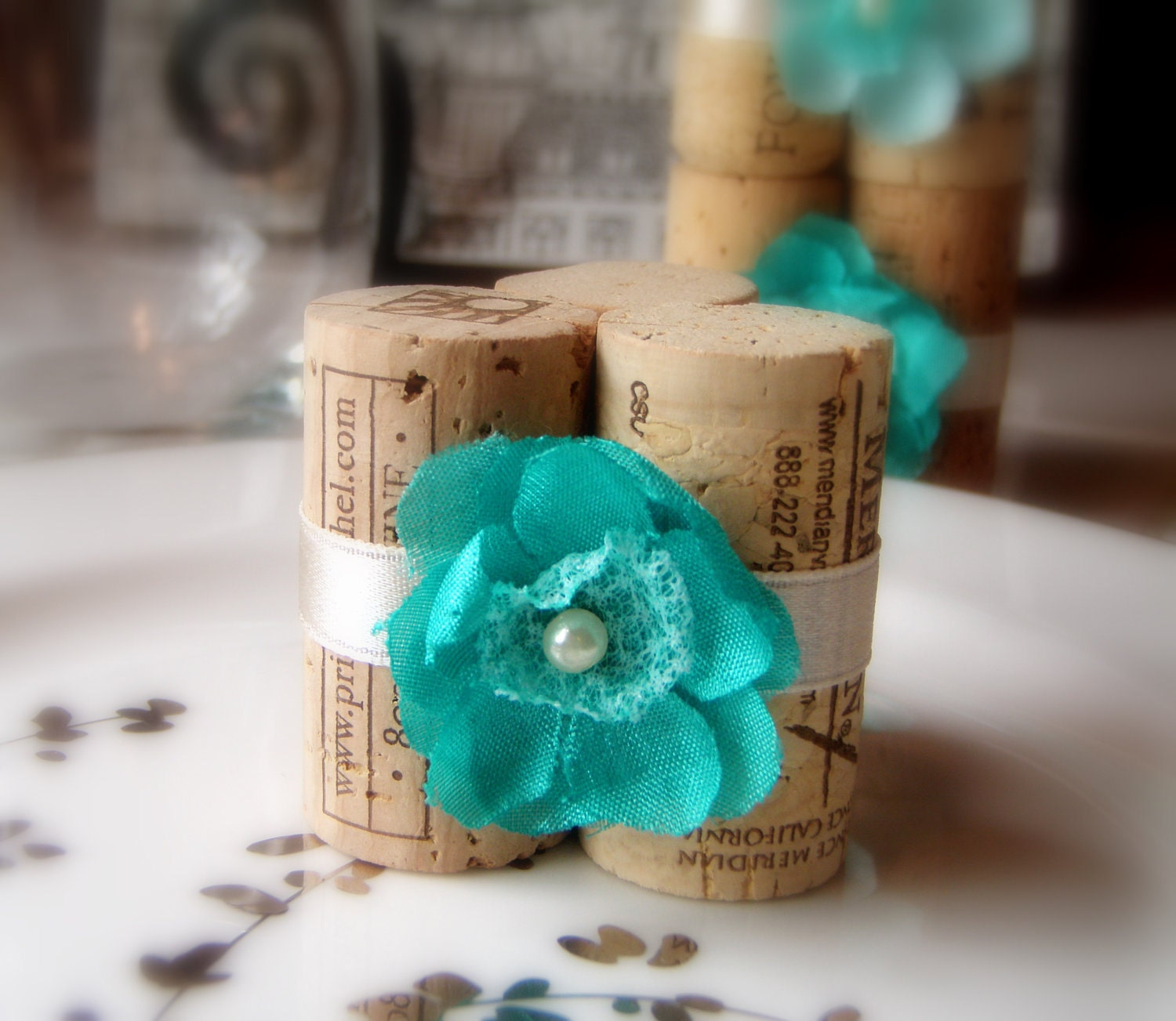 Wedding Place Card Holders in Teal Blossom, Set of 10 - All New for Spring Wedding 2012 - KarasVineyardWedding