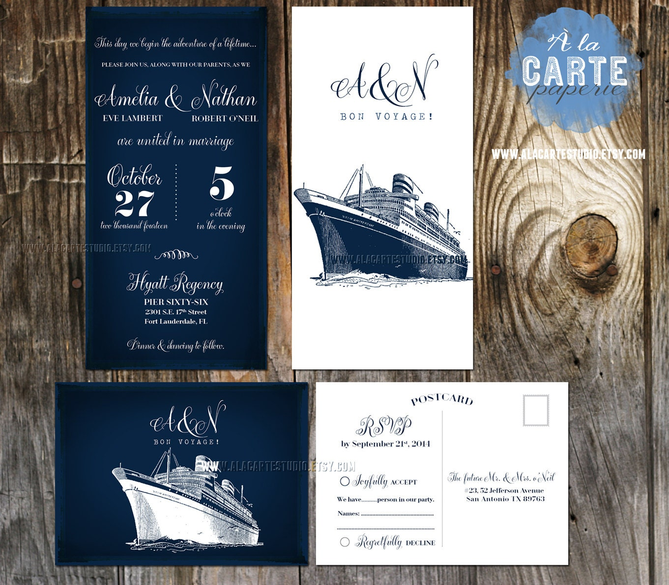 cruise ship wedding invitation and rsvp cards by With etsy cruise wedding invitations