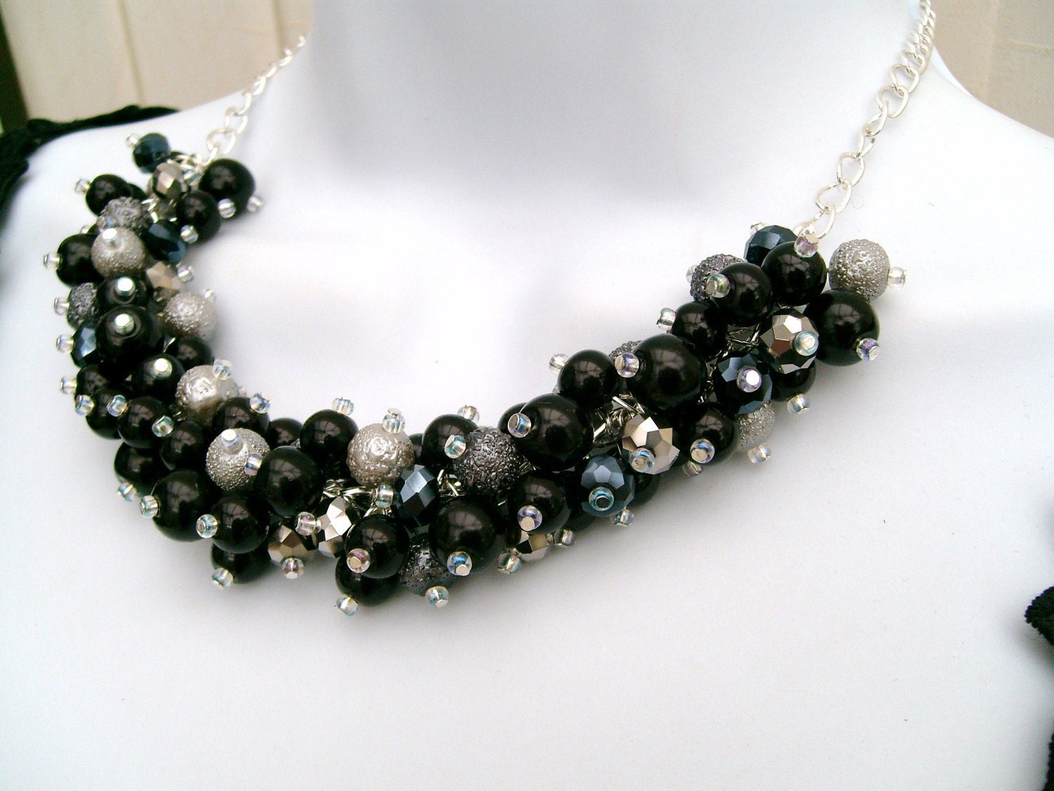 items similar to chunky pearls black and grey beaded