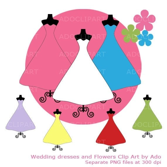 Dresses Digital elements Dress Digital Clip Art PNG for wedding birthday
