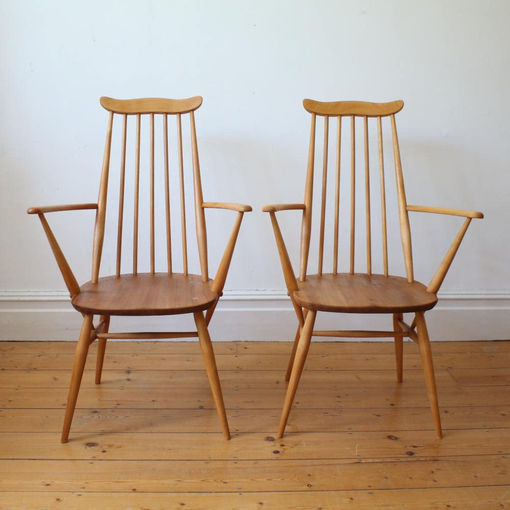 Pair of vintage Ercol Goldsmith carver chairs