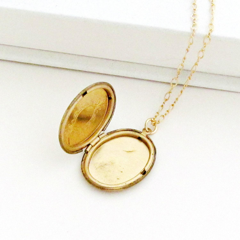 Gold Locket Necklace Art Deco Locket Engraved Locket Art Deco Necklace Oval Locket Photo Locket Keepsake Necklace - Sweet Deco - laurenblythedesigns