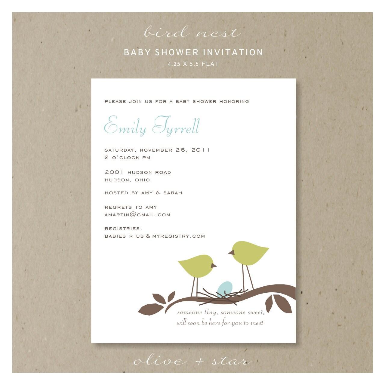 bird nest baby shower invitation set by oliveandstar on etsy
