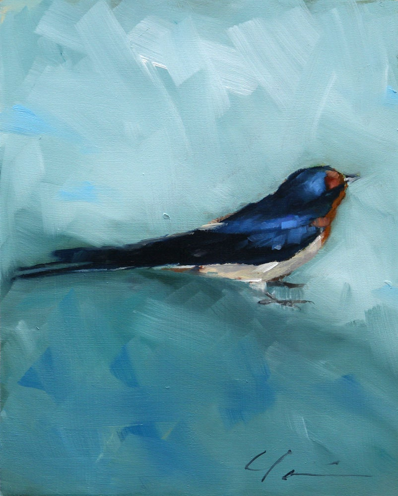 Painterly Barn Swallow, Blue, Black, Rust Orange, Sitting Bird on Blue Green - Original Painting by Clair Hartmann
