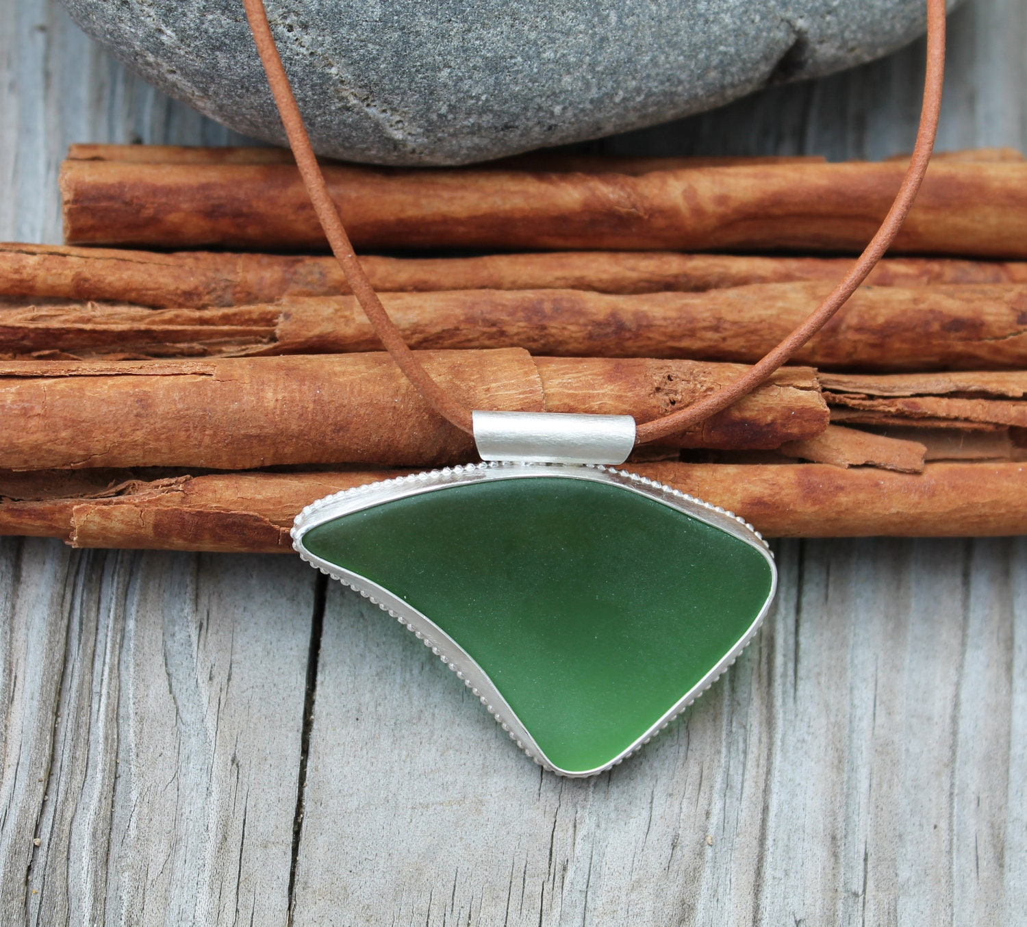 Sea Glass Necklace. Green Glass. Abstract shape. Sterling silver bezel set pendant. Leather necklace. Big Handmade jewelry. OOAK. - KittyStoykovich