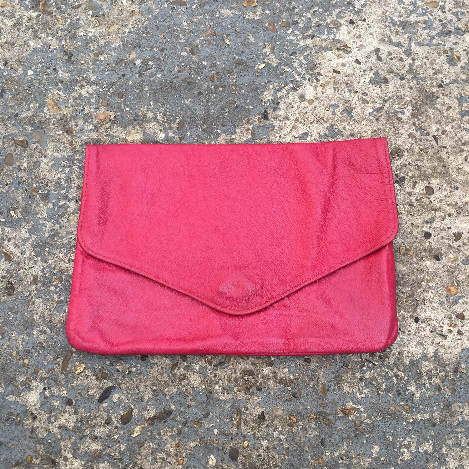 Pink leather clutch purse  soft real leather clutch  bright pink leather clutch bag  supple pink leather bag  pink 80s evening bag