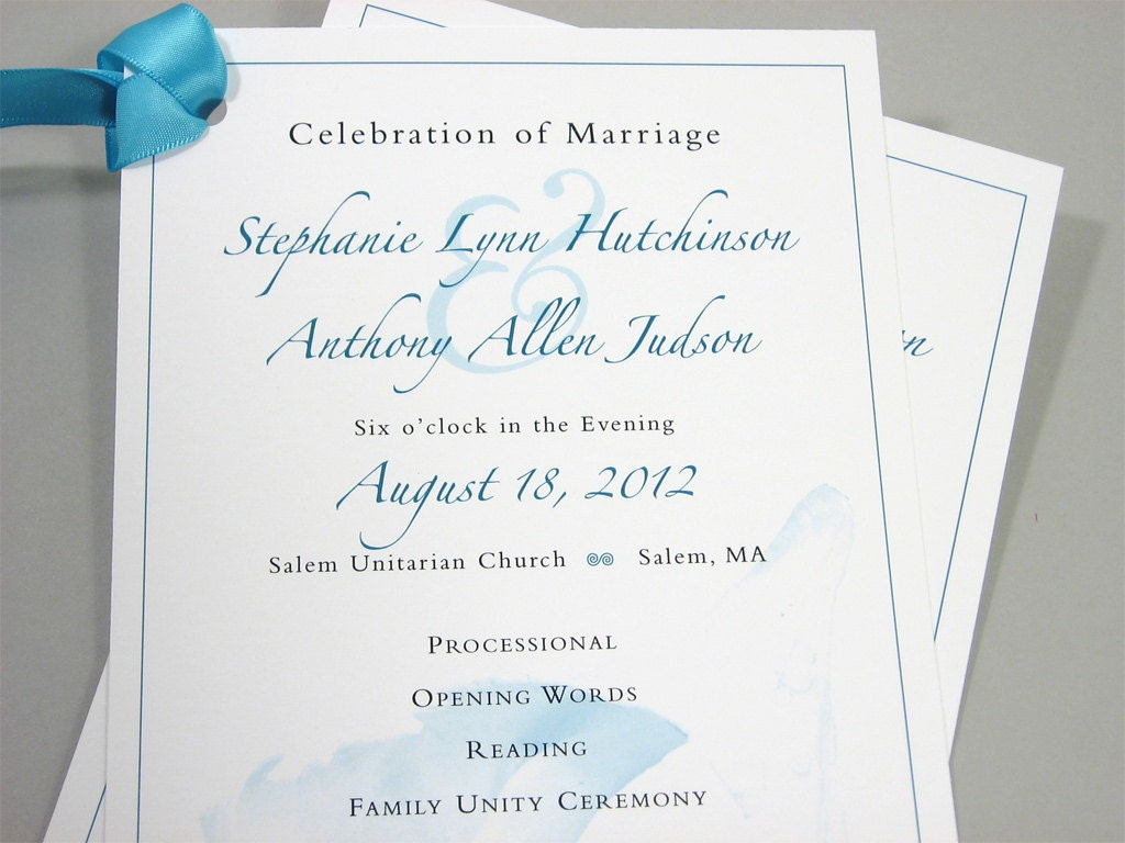 Wedding Ceremony Program One Page Custom by essentialimages