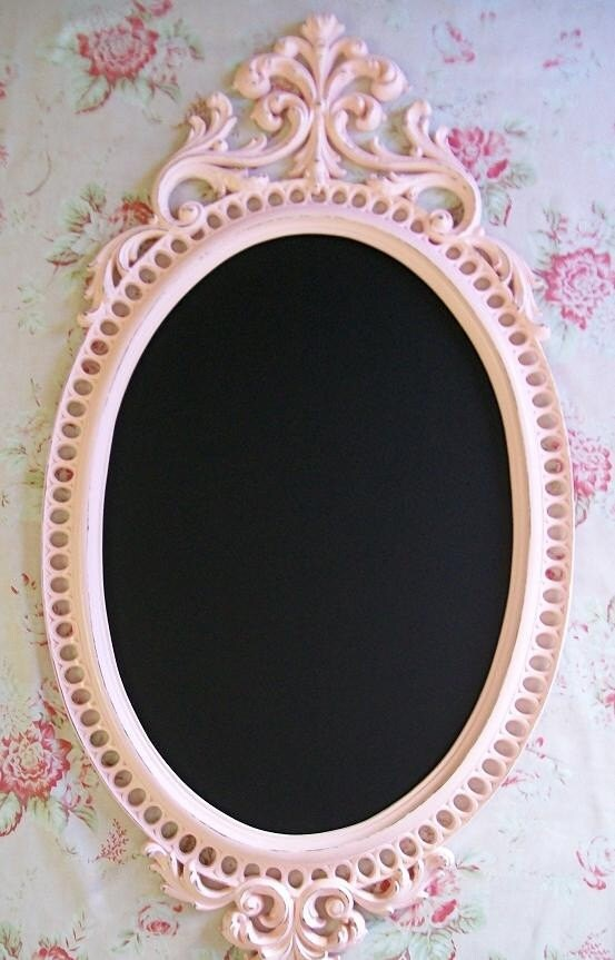 Lick the Frosting - Tres Chic Large Ornate Vintage Framed Magnetic Chalkboard or Wall Mirror - Pink or Choose Color-Wedding-Reception