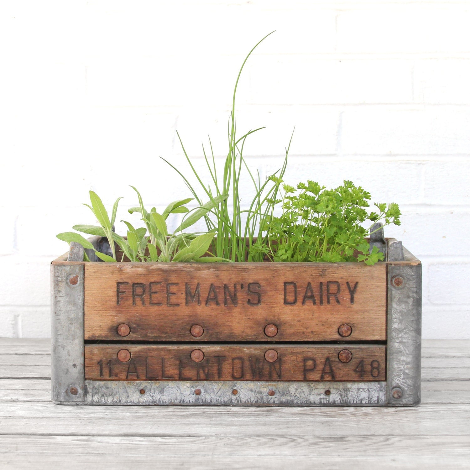 vintage wood and metal dairy crate - lacklusterco