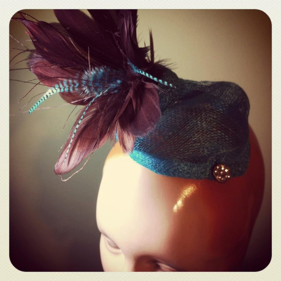 Aquamarine Fascinator with Feathers - OOAK