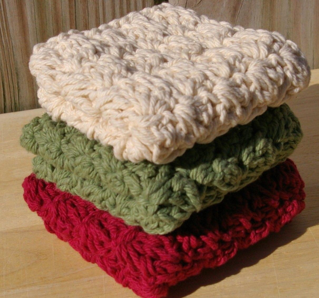 Autumn Dishcloths in Cotton Crochet Set of 3