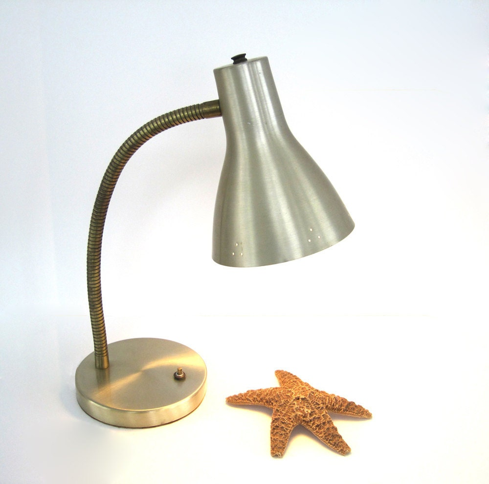 vintage metal desk lamp light adjustable industrial brushed aluminum. Black Bedroom Furniture Sets. Home Design Ideas