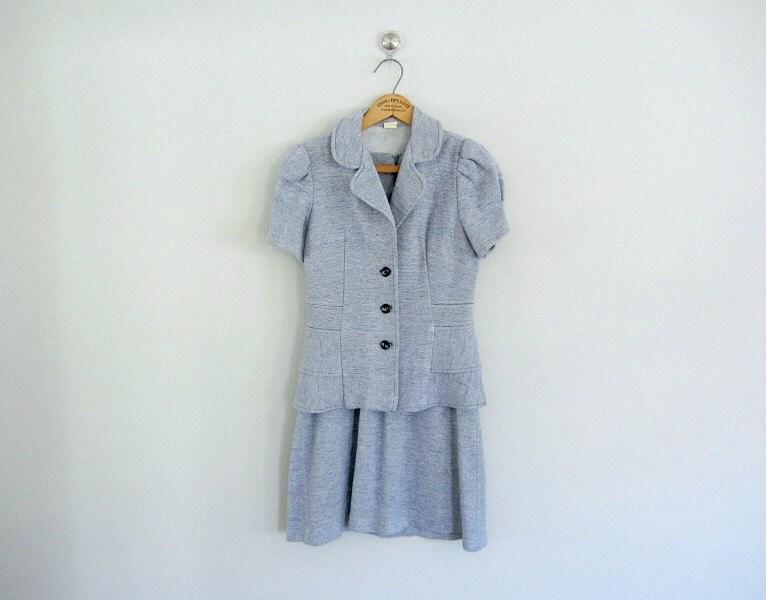 70s knit suit . mini dress and jacket . pastel blue - BlueFennel