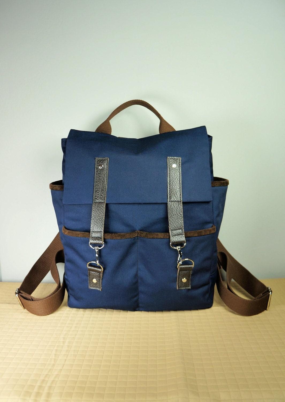 Hipster Backpack/ Canvas Backpack/ Brown Leather/ Mens Bag/School Bag ...