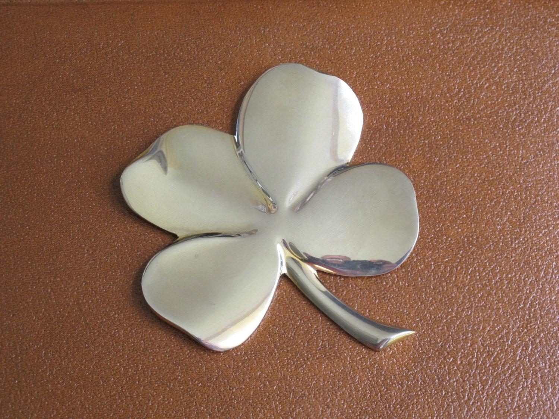 Vintage Four Leaf Clover Paperweight Silver By Milkacervenka