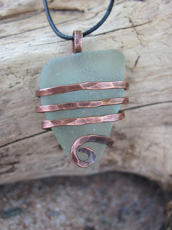 Genuine Aqua Sea Foam Sea Glass Necklace Wire Wrapped Antique Hammered Copper Beach Glass Pendant - metamorphosea