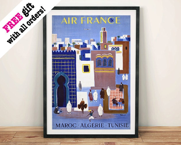 MOROCCO ALGERIA TUNISIA Vintage Africa Travel Poster Blue Art Print Wall Hanging