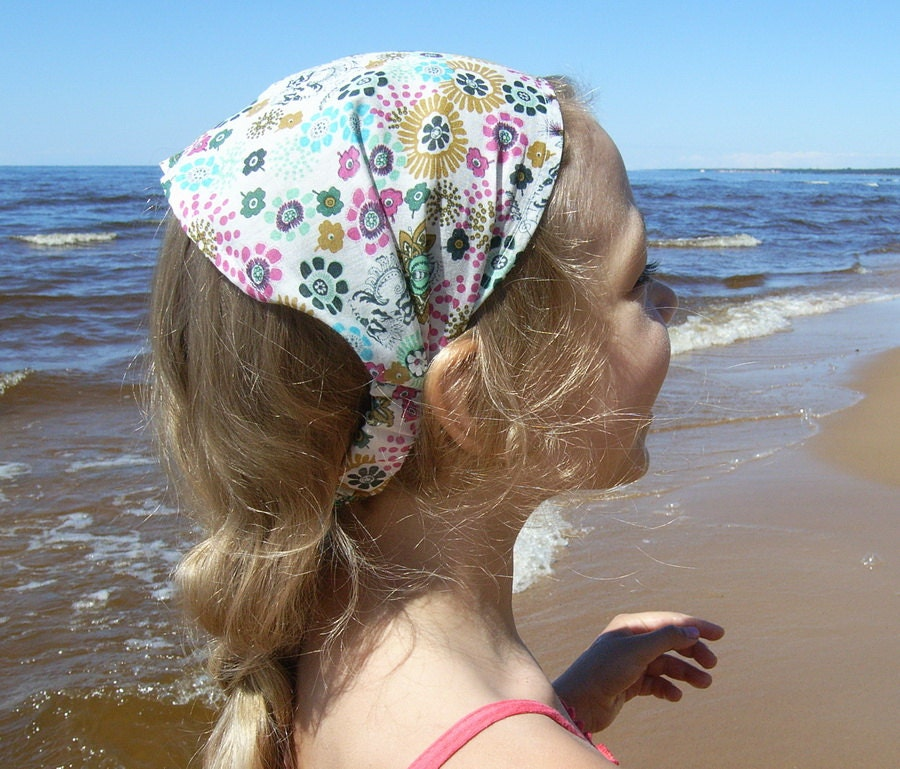 Girl headscarf our hair wrap multicolor cotton floral print cotton fabric pink light blue green colors - Lupeworks