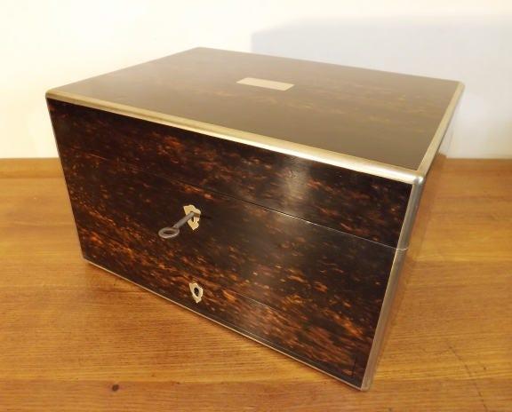 Victorian London W. Leughars Coromandel Complete VanityJewellery Box. c1840